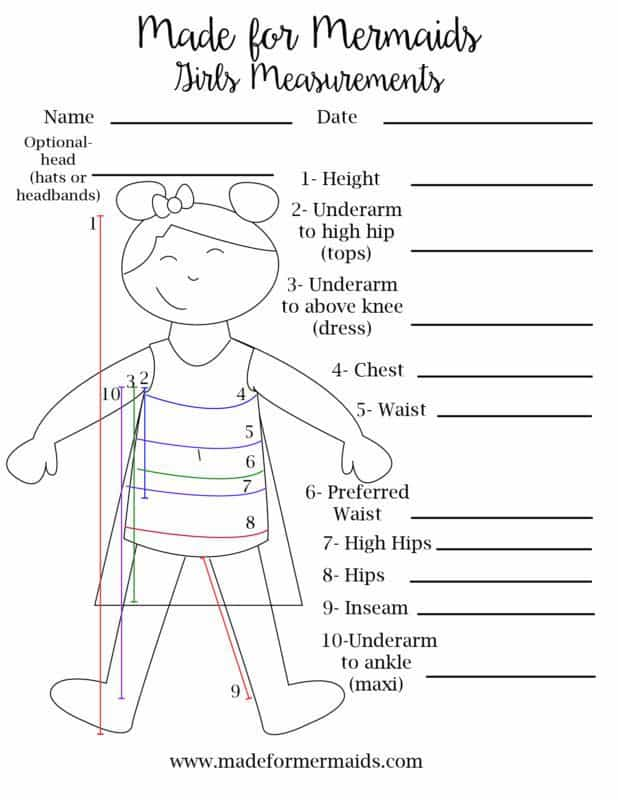 Free Printable Blank Measurement Chart For Boys Amp Girls