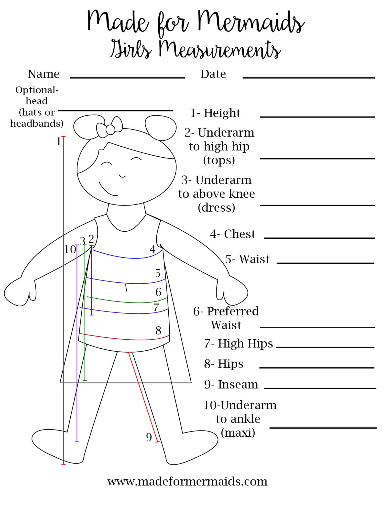 photograph about Printable Measurement named Cost-free Printable Blank Size Chart for Boys, Women