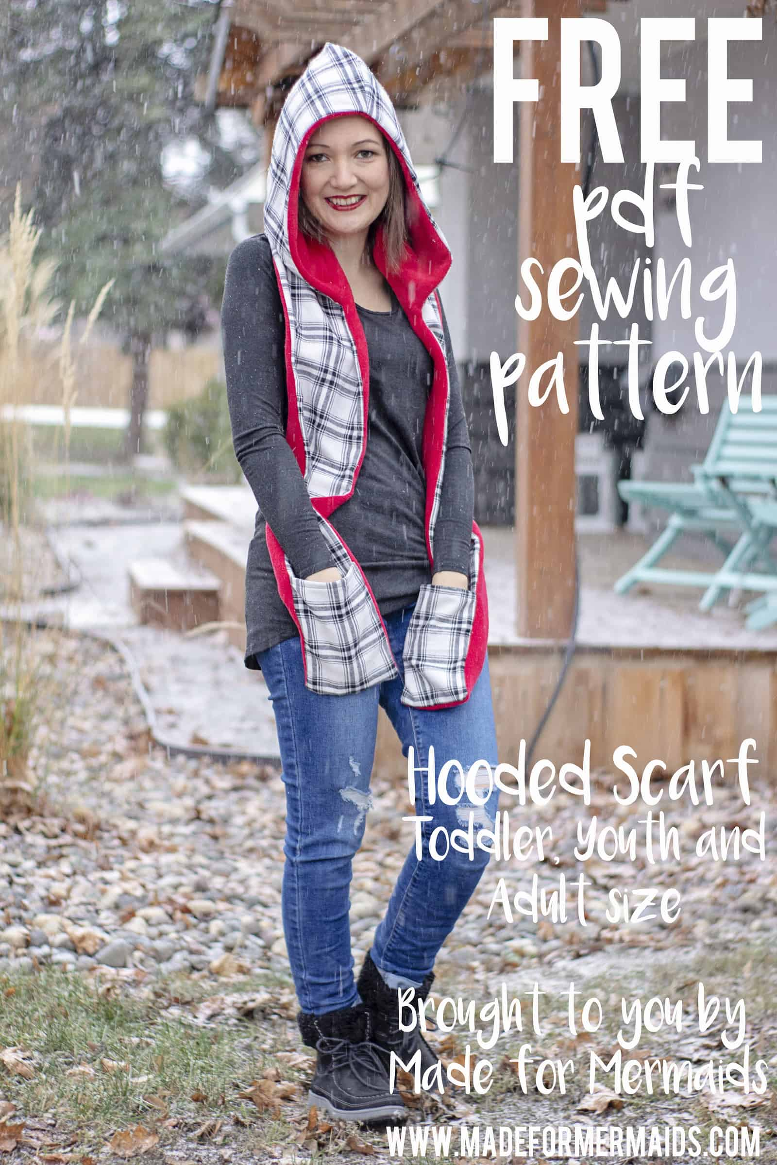 Free Hooded Scarf In Toddler Youth Adult Sizes